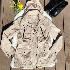 Khaki Tan Michael Kors Hooded Zip Raincoat - M